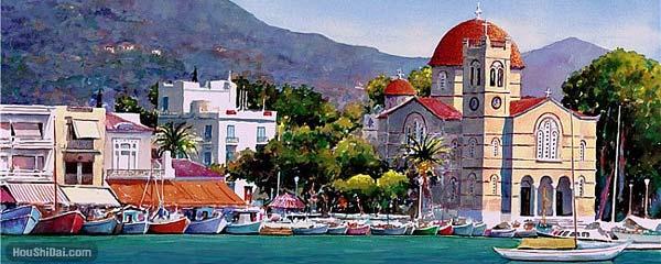 水彩画迷人希腊风光