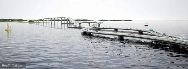 粤港大桥设计-螺旋交叉方案