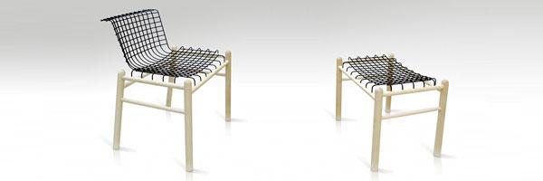 椅子的设计-铁丝木椅