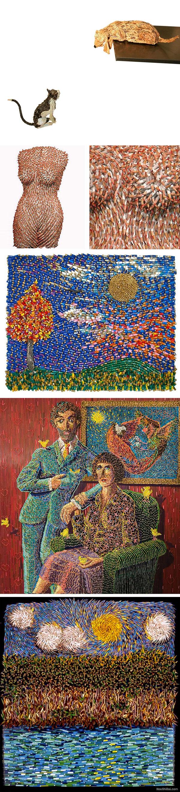 令人惊叹的多彩铅笔雕塑艺术